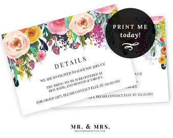 Editable Details Information Card   Registry Card   Invitation Insert Card   DIY Instant Download Watercolor Details Card   MAM106_18