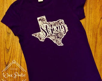 Purple Paisley Texas Strong Shirt l Texas Shirt l Texas Tee l Texas T-Shirt l Texas Strong l Paisley