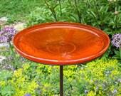 14 quot Tangerine Glass Birdbath with Garden Stake