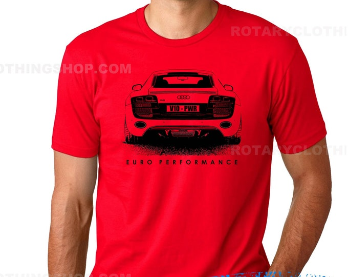 Featured listing image: Audi R8 Tshirt sketch artwork- Euro performance collection - Germany sport car t-shirt -V10 coupe