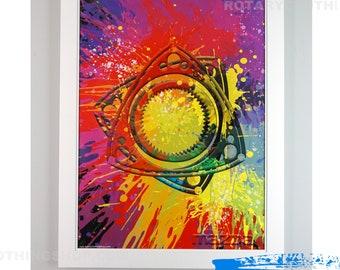 Mazda Wankel Splash- Poster Artwork - Rotary Engine