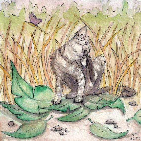 Scritch Scritch Original Watercolor Painting Grey Cat Etsy