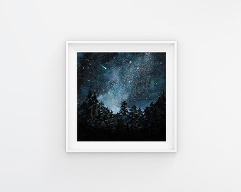 Night Sky / Watercolor / Galaxy / Forest / Painting / 5x5, 8x8, 12x12 / Print / Home Decor