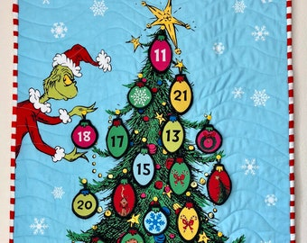 grinch advent calendar dr seuss christmas tree countdown wall quilt 22in x 35in - Dr Seuss Christmas Decorations