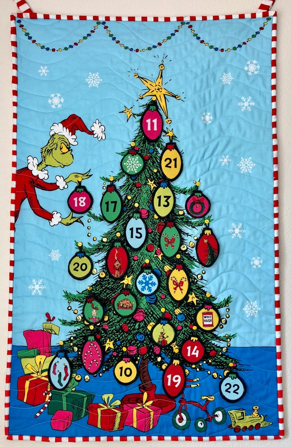 Dr Seuss Christmas.Grinch Advent Calendar Dr Seuss Christmas Tree Countdown Wall Quilt 22in X 35in