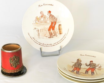 French Vintage Collector Ceramic Plates from LUNÉVILLE ~ Nos Réservistes (Our Reservists), French Army, French Soldiers, Great War, 19th Ct.