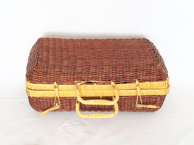 Original Gift 1960 Handbag Hand Made Basket Bohemian Chic Retro Lunch Box ~ Picnic ~ Walk Retro French Vintage Boho Wicker Suitcase