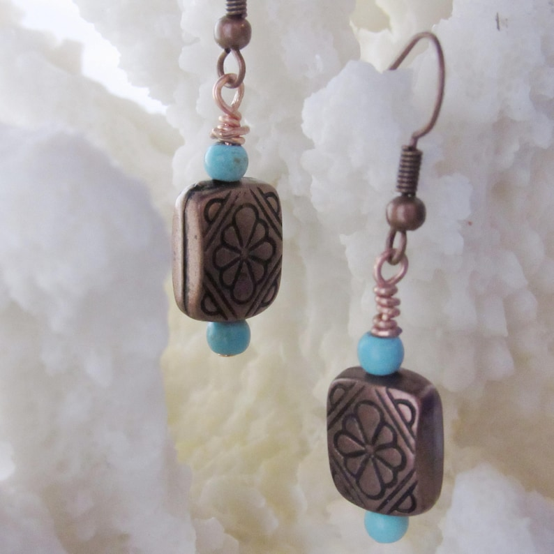 southwestern jewelry turquoise and copper earrings copper jewelry western earrings Copper earrings country girl earrings