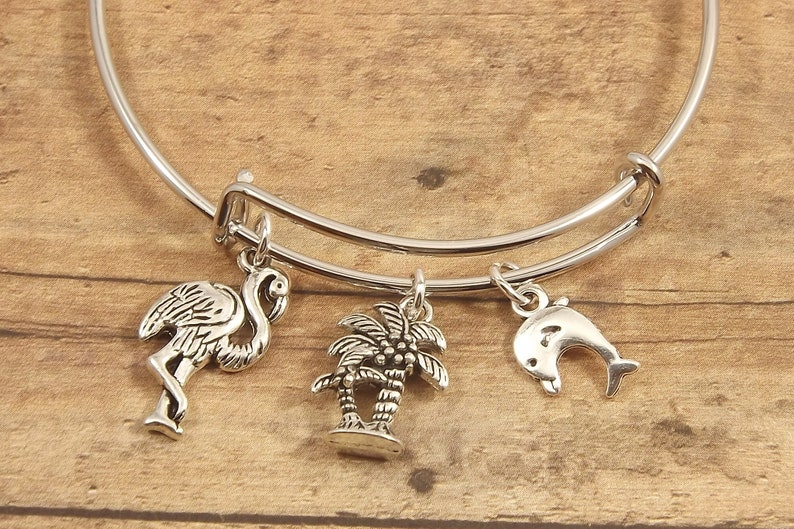 Tropical stackable bangle bracelet for anyone who loves flamingo jewelry palm tree bracelets or dolphin jewelry!
