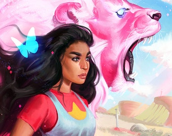 SU Stevonnie and Lion Open Edition Art Print 11x17 inch