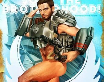 Fallout 4 Paladin Danse Brotherhood of Steel Pinup Open Edition Art Print 11x17 inch