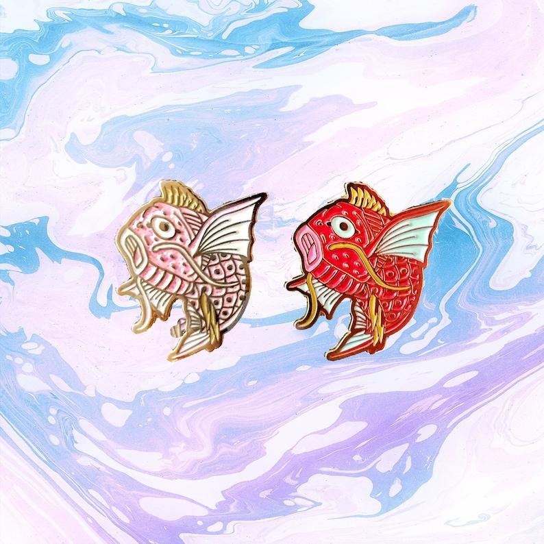 Magikarp Pokemon Pink Glitter Or Orange Gold Soft Enamel Lapel Etsy