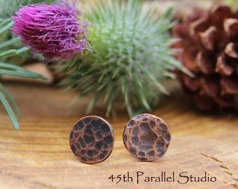 Hammered Stud Earrings, Copper Stud Earrings, Textured Earrings, Hammered Jewelry, Rustic Stud Earrings, Minimalist Earrings, Copper Earring
