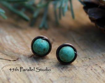 Turquoise Copper Stud Earrings, Turquoise Magnesite Earrings, Stud Earrings, Copper Stud Earrings, Southwestern Jewelry, Native American