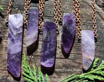 Amethyst Necklace, Amethyst Pendant, Amethyst Jewelry, Gemstone Necklace, February Birthstone, Birthstone Jewelry, Amethyst Bar Necklace