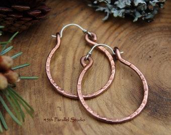 Hammered Copper Hoop Earrings, Mixed Metal Earrings, Hammered Earrings, Copper Jewelry, Hoop Earrings, Rustic Earrings, Hoops, Boho Jewelry