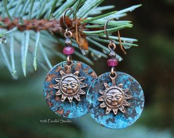 e3348e9e0 Bohemian Earrings, Boho Earrings, Boho Jewelry, Copper Earrings, Copper  Jewelry, Patina Earrings, Hippie Earrings Hippie Jewelry Sun Earring