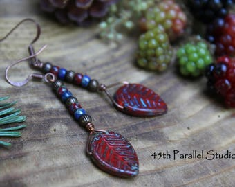 Red Picasso Leaf Earrings, Czech Glass Earrings, Rustic Earrings, Red Earrings, Leaf Earrings, Nature Earrings, Leaf Jewelry, Czech Glass