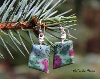 Sterling Silver Ruby in Zoisite Earrings, Ruby Zoisite Jewelry, Ruby in Zoisite Jewelry, Gemstone Earrings, Gemstone Jewelry, Stone Earrings