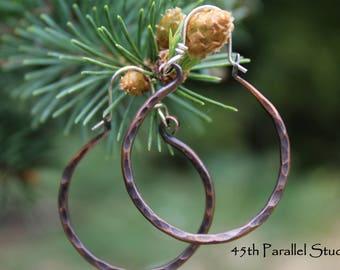 Hammered Copper Hoop Earrings, Patina Earrings, Rustic Copper Earrings, Boho Earrings, Hippie, Hoops, Copper Earrings, Forged Earrings
