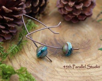 Boho Wishbone Earrings, Hippie Earrings, Boho Jewelry, Bohemian Earrings, Czech Glass Jewelry, Hippie Jewelry, Gypsy Jewelry, Copper Jewelry