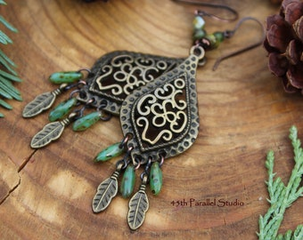 Bronze Tribal Earrings, Tribal Jewelry, Boho Earrings, Boho Jewelry, Czech Glass Earrings, Bronze Earrings, Ethnic Earrings, Hippie Jewelry