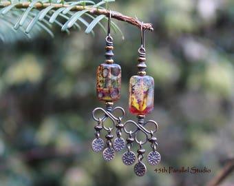 Boho Earrings, Boho Jewelry, Czech Glass Earrings, Copper Earrings, Copper Jewelry, Bohemian Earrings, Hippie Earring, Gyspy, Hippie Jewelry