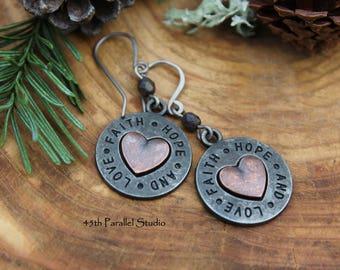 Faith Hope & Love Earrings, Christian Earrings, Religious Jewelry, Christian Gifts, Religious Gifts, Christian Jewelry, Heart Earrings