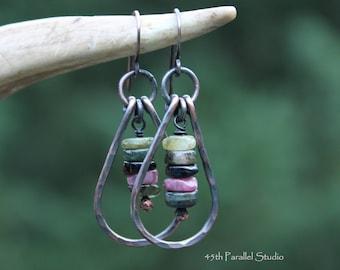 Tourmaline Hoop Earrings, Tourmaline Jewelry, Copper Earrings, Hoop Earrings, Copper Hoops, Boho, Hippie, October Birthstone Earrings, Hoops