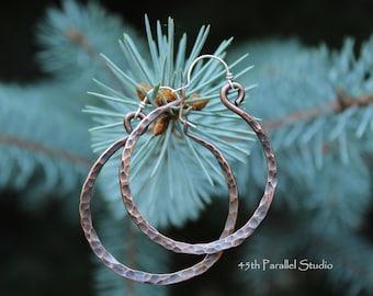 Hammered Copper Hoop Earrings, Hammered Hoops, Hammered Hoop Earrings, Large Hammered Hoop Earrings, Hammered Copper Earrings, Rustic Hoops
