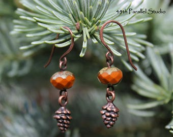 7c9666a75 Pinecone Earrings, Czech Glass Earrings, Orange Earrings, Rustic Earrings,  Rustic Jewelry, Pine cone Earrings, Pinecone Jewelry, Copper