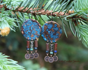 Blue Patina Earrings, Verdigris Earrings, Patina Earrings, Copper Earrings, Boho Earrings, Boho Jewelry, Copper Jewelry, Hippie Earrings