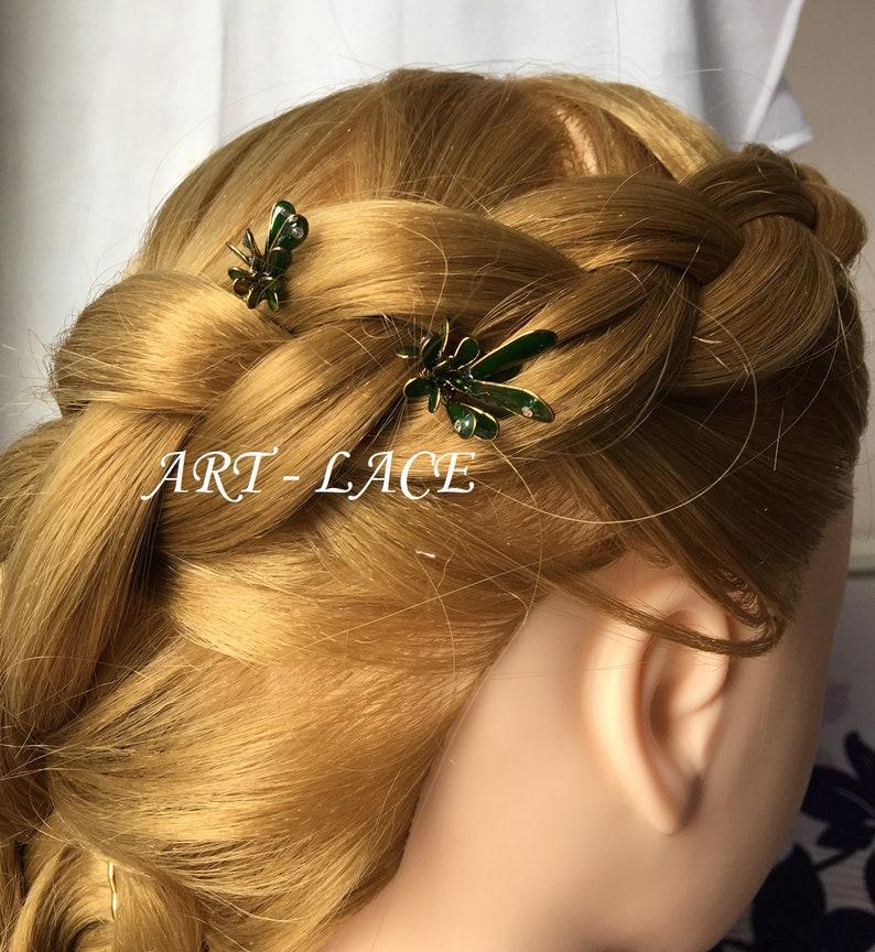 Christmas hair picks Bronze hair accessory olive green hair accessory Cactus hair picks bun greenery Resin hair pick decorative bun peaks