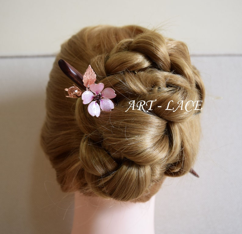 bd5f6a7eb457 Mother s Day Gift Pink Sakura Hair stick for bun Rustic