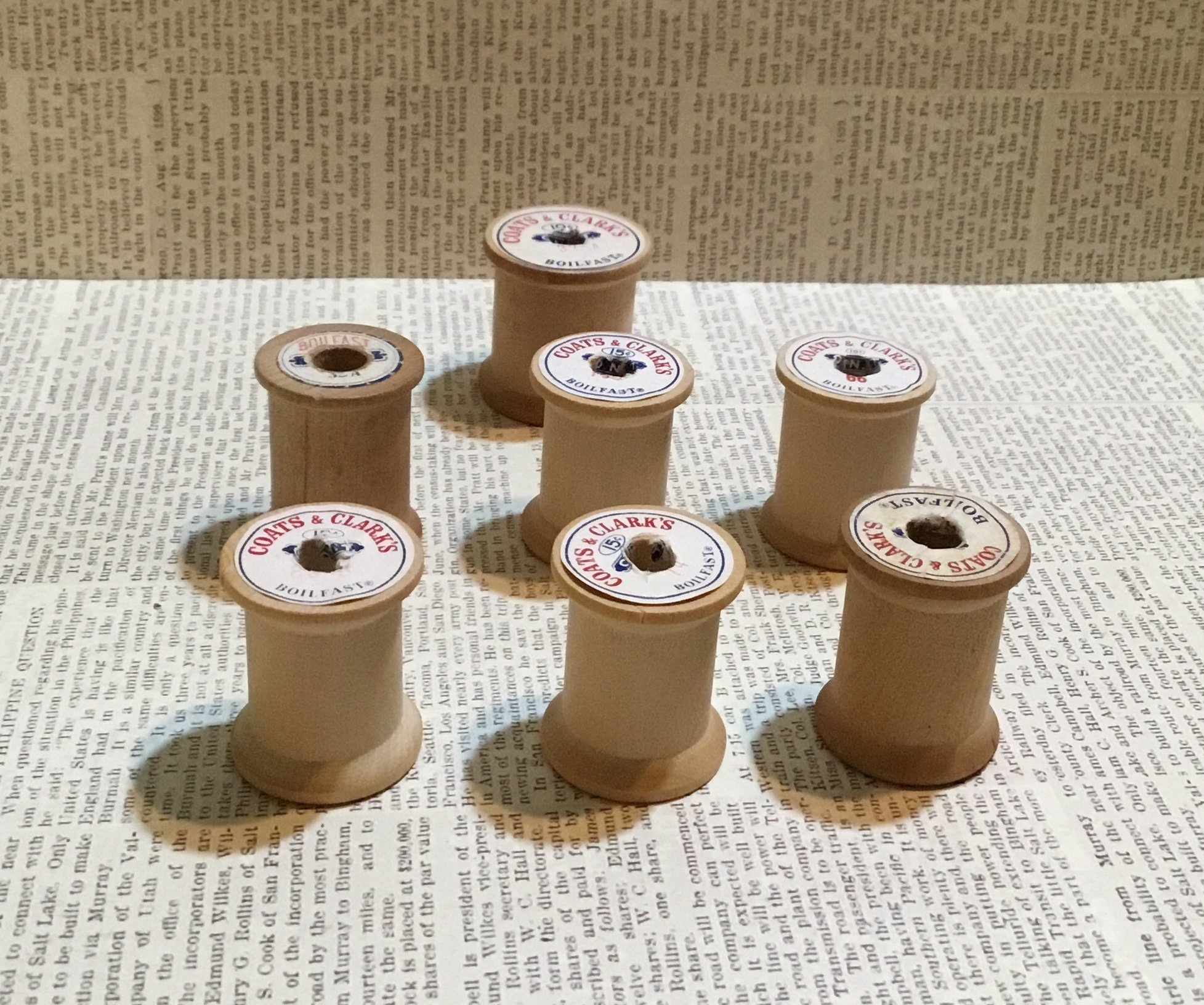 Vintage Coats And Clarks Wood Thread Spools Lot Of 7 Antique Crafting Collectibles Display Sewing