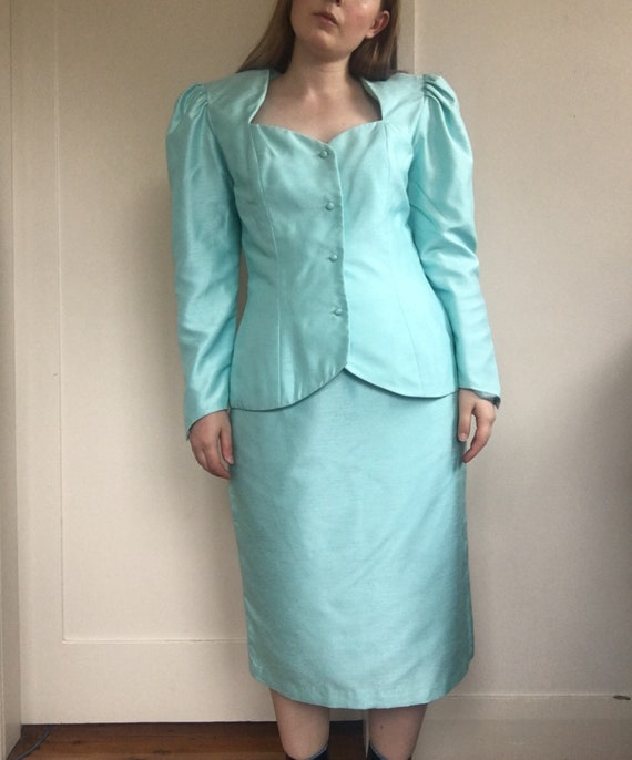 80s Sky Blue Jewel Skirt Suit Set / Puff Sleeve B… - image 2