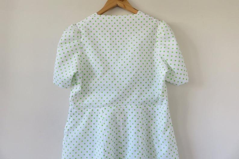 80s Lime Green Polka Dot Dress  Short Sleeve A Line  Lace Trim  Spots Dots Print  Retro Feminine Unique Handmade Large 14