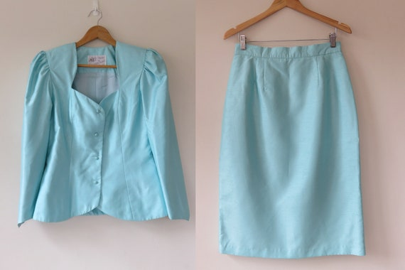 80s Sky Blue Jewel Skirt Suit Set / Puff Sleeve B… - image 1