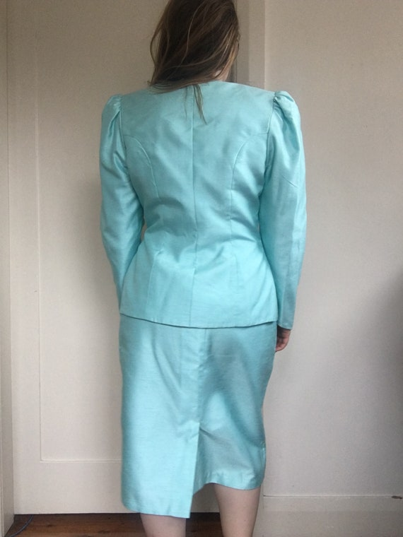 80s Sky Blue Jewel Skirt Suit Set / Puff Sleeve B… - image 9