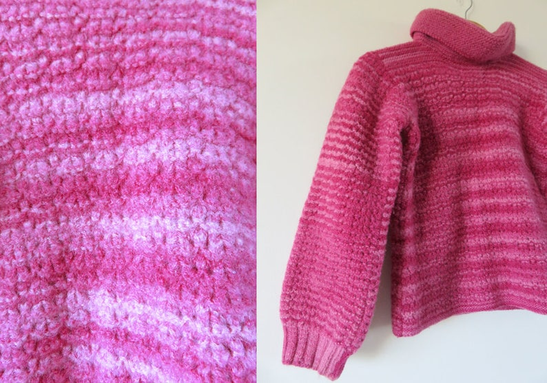 80\u2019s Vintage Hand Knitted Pink Wool Jumper  One Off Chunky Knit Turtle Neck Style  Womens Winter Knitwear  Size 8 Smal
