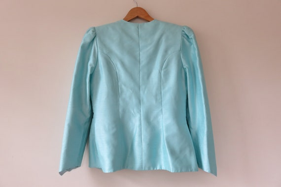 80s Sky Blue Jewel Skirt Suit Set / Puff Sleeve B… - image 8