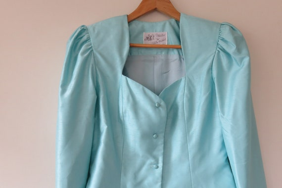 80s Sky Blue Jewel Skirt Suit Set / Puff Sleeve B… - image 4