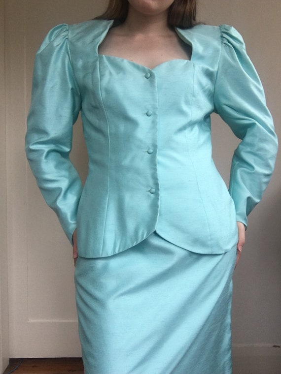 80s Sky Blue Jewel Skirt Suit Set / Puff Sleeve B… - image 3