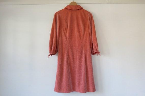 70s Orange Sparkle Long Sleeve Mod Dress / Lurex M