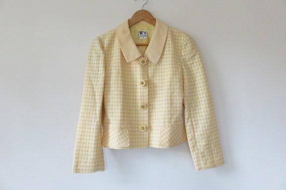 90s Yellow Check Tailored Blazer Jacket / Lemon Cl