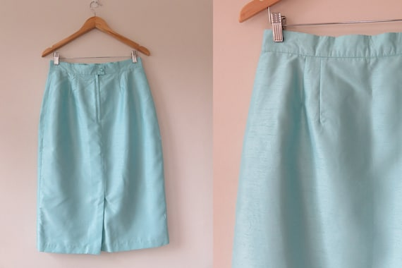 80s Sky Blue Jewel Skirt Suit Set / Puff Sleeve B… - image 6