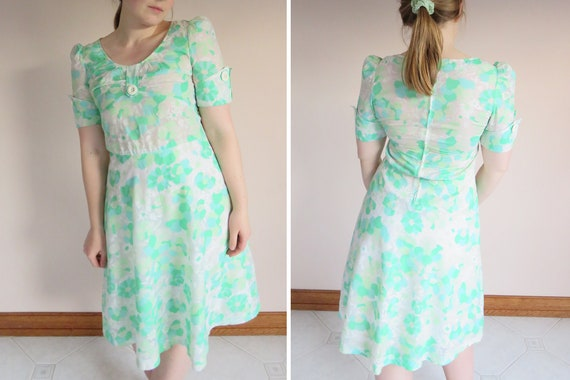 70s Cotton Floral Puff Sleeve Dress / Acid Green F