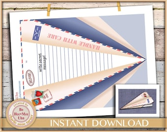 Easy DIY flying paper plane with matching badges.  Instant digital instant download.