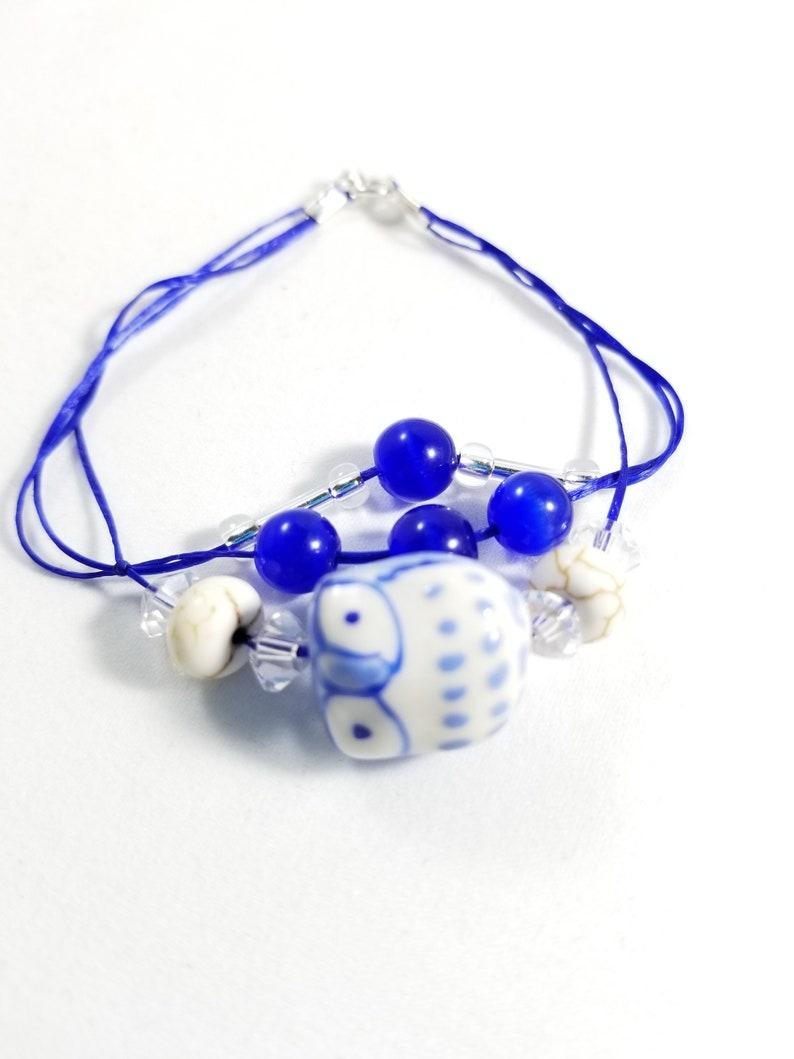 Beaded Blue Owl Stretch Cord Bracelet image 0
