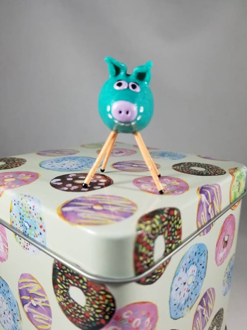 Mini Smiling Clay Pig Blue and Orange with Retro Flower Smiley image 0
